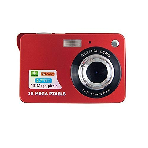 CamKing Digital Camera,2.7 Inch TFT LCD 18MP 8X HD Mini Digital Compact Camera with Zoom,Compact System Cameras for Backpacking/Photography/Holiday/Family/Friends/Students(Red) 1