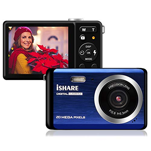 Mini Digital Camera for Photography with 2.8 Inch LCD 8X Digital Zoom, 20MP HD Digital Camera Rechargeable Point and Shoot Camera,Indoor Outdoor for Kids/Seniors/Learner(Blue) 1