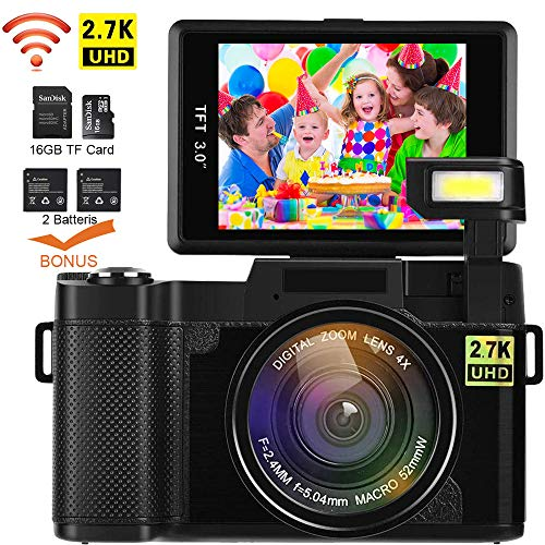 Digital Camera with Wifi DIWUER Video Camcorder 2.7K FHD 24MP 3.0 Flip Screen Vlogging YouTube Camera with 16GB TF Card, UV Lens, Two Batteries 1