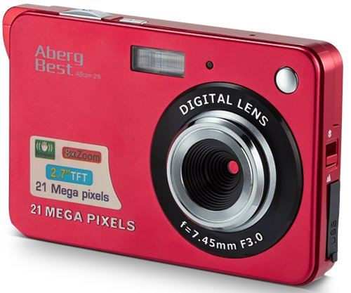 "AbergBest 21 Mega Pixels 2.7"" LCD Rechargeable HD Digital Video Students Cameras-Indoor Outdoor for Adult/Seniors/Kids, Red 1"