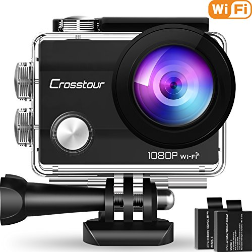 "Crosstour Wifi Action Camera Full HD 1080P Waterproof Cam 2"" LCD Screen 98ft Underwater 170° Wide-angle Sports Camera with 2 Rechargeable 1050mAh Batteries and 20 Mounting Accessory Kits 1"