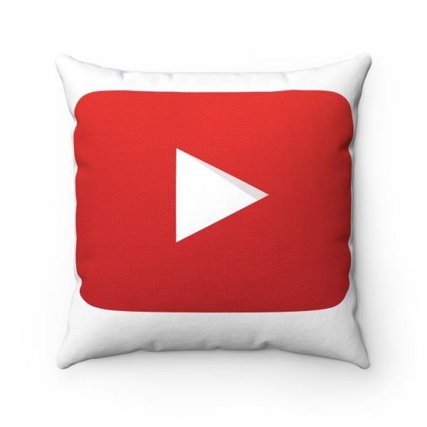YouTube Spun Polyester Square Pillow Case 1