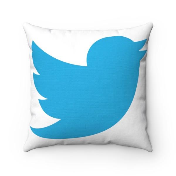 Twitter Spun Polyester Square Pillow Case 1